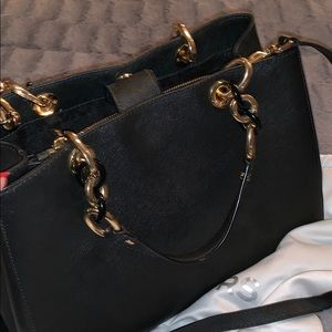 Michael Kors black purse with gold chain handles